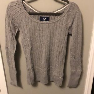American Eagle Scoop Neck Cable Knit Sweater